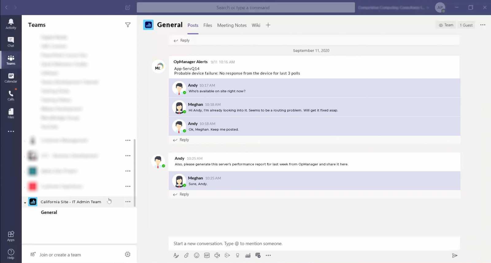 Microsoft Teams and OpManager Blog Image